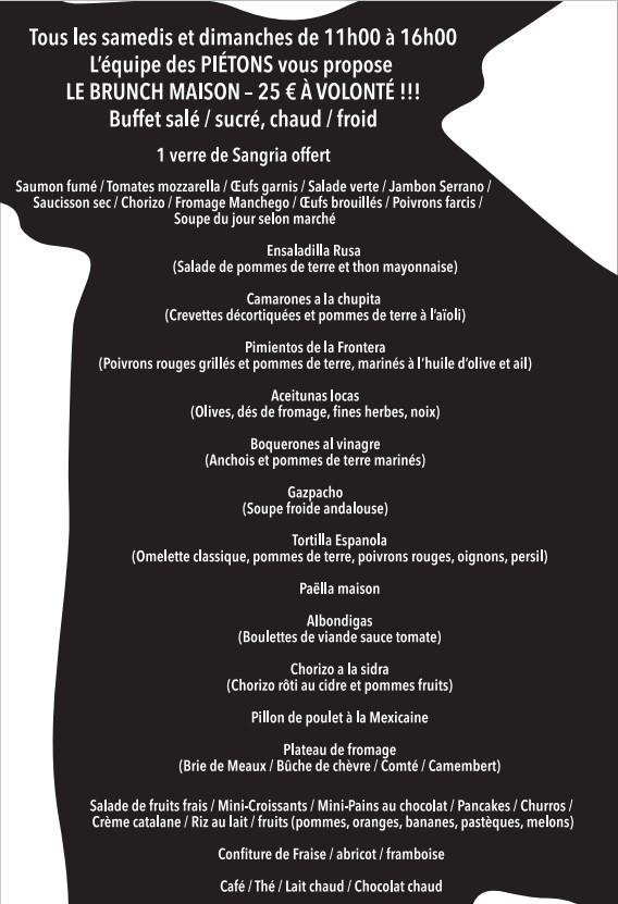carte du buench du resturant espagnol Les Piétons à Paris